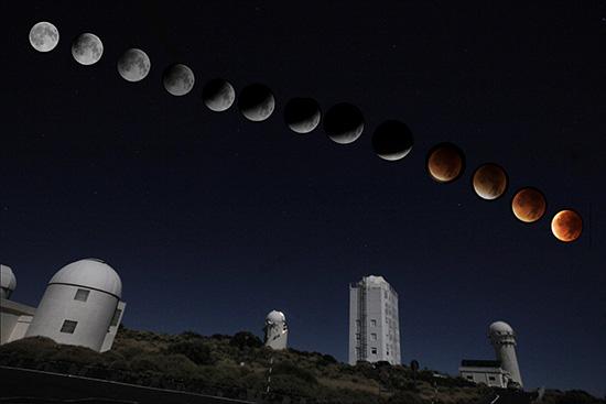 COMBO de imágenes del eclipse luna total y de Sangre, septiembre 2015