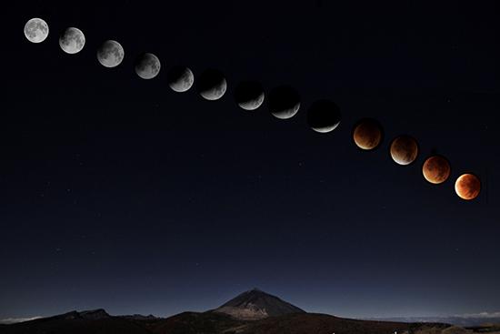 COMBO de imágenes del eclipse luna total y de Sangre, con el Teide, septiembre 2015